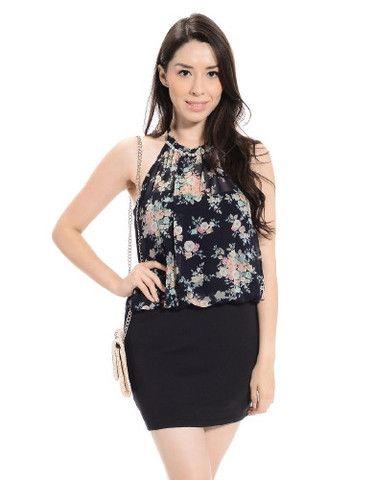 Floral Overlay Halter Mini Dress