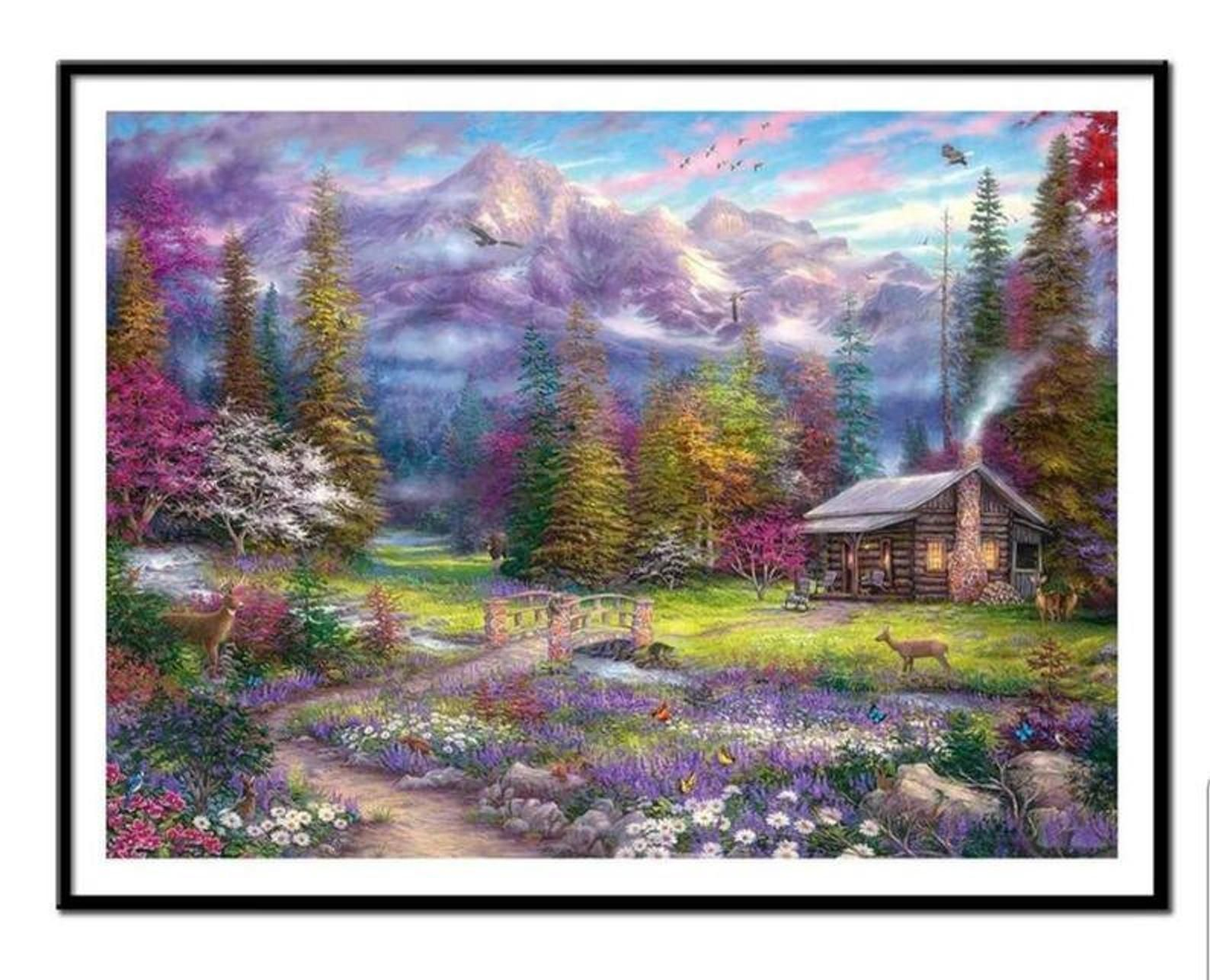 DIY Diamond Painting Kit Forest Flowers 5D Embroidery Cross Stitch Mosaic Decor