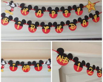 Mickey Mouse Birthday Banner DIY Kit Optional Custom Name with by FeistyFarmersWife | Etsy