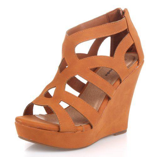 Top Moda Ella-15 Womens Strappy Open Toe Platform Wedge Sandals COLOR TAN