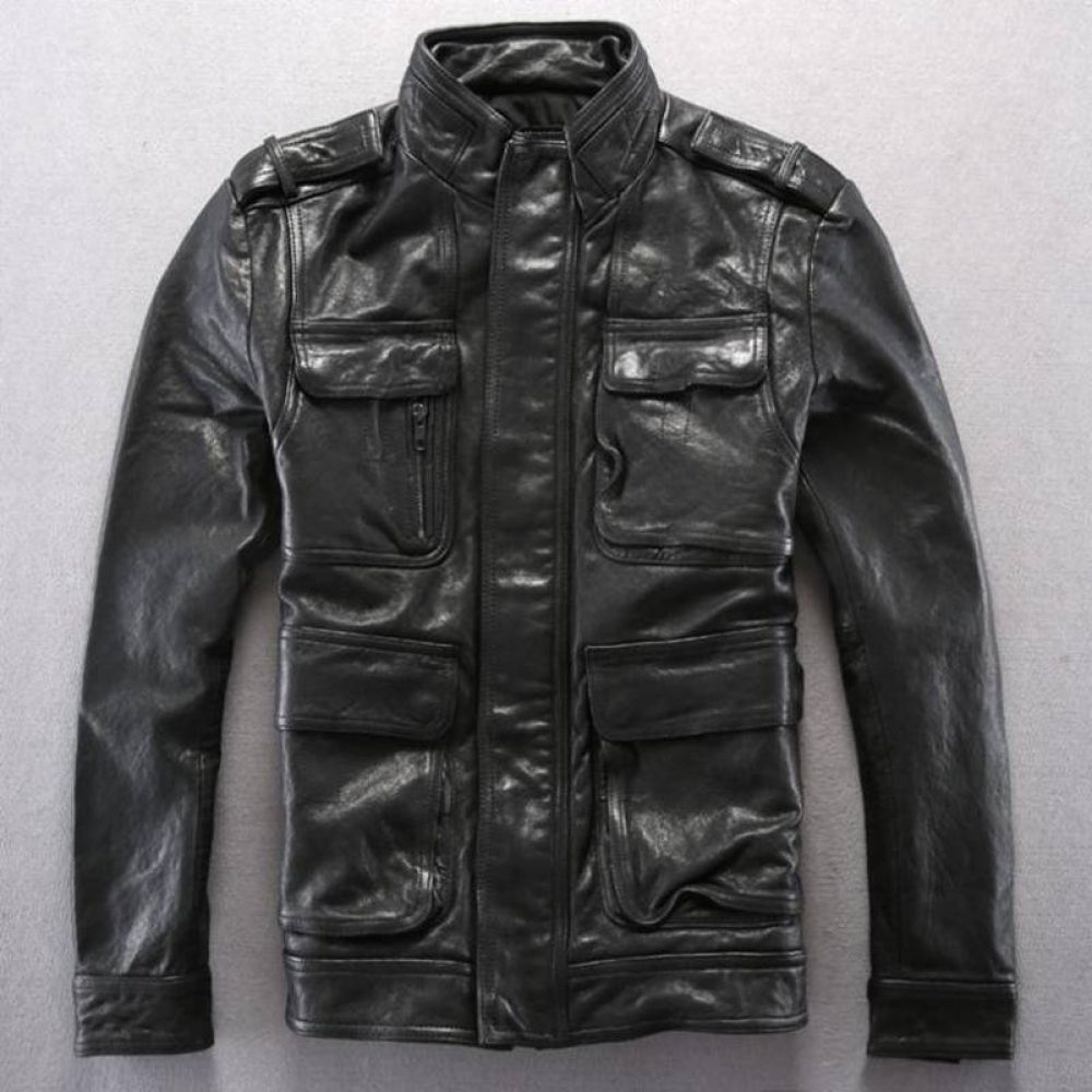 Classic Alpha M65 Leather Jacket Men Italy Import Tanned Sheepskin Slim Fit Genuine Leather Jackets And Coats Men Green Black Leather Jacket Men Genuine Leather Jackets Mens Coats