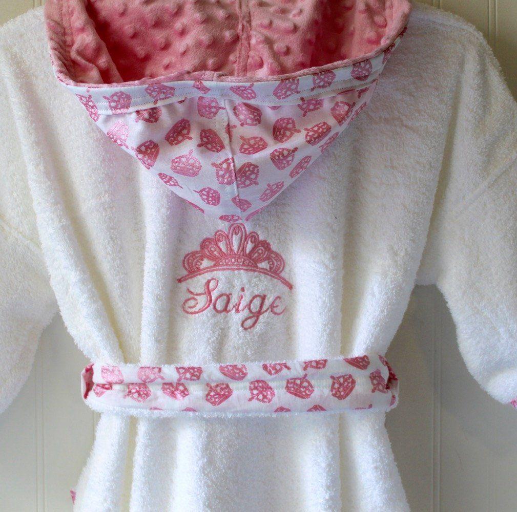 Childs Robe-PERSONALIZED-Tiara-Girls-Bath-Robe-Pink-Princess-Crowns-Sweet- Dreams-Swim-Pool-Sleepwear-Hooded-Terry-Beach-Cover-Baby Kids-2-6 by tanjadlyn  on ... aeb624fc1