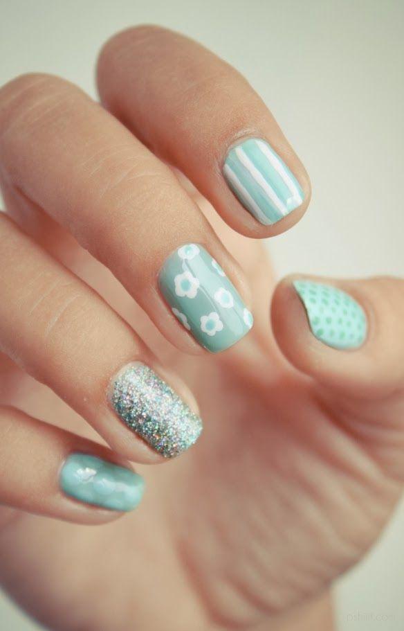 u%C3%B1as+decoradas+verde+menta.jpeg (584×911) | Nails | Pinterest ...