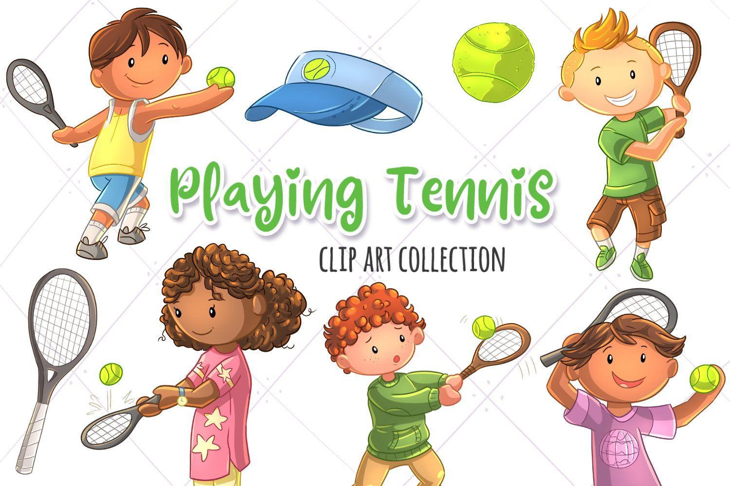 Kids Playing Tennis Sports Clip Art Collection Cute Tennis Etsy In 2020 Illustrations Kids Clip Art Kids Playing