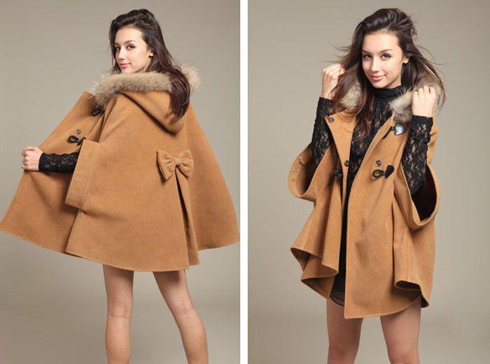 Japan Style Palto Plaszcz Kurtka Kaptur S 4052454279 Oficjalne Archiwum Allegro Women Cape Coat Coat Capes For Women