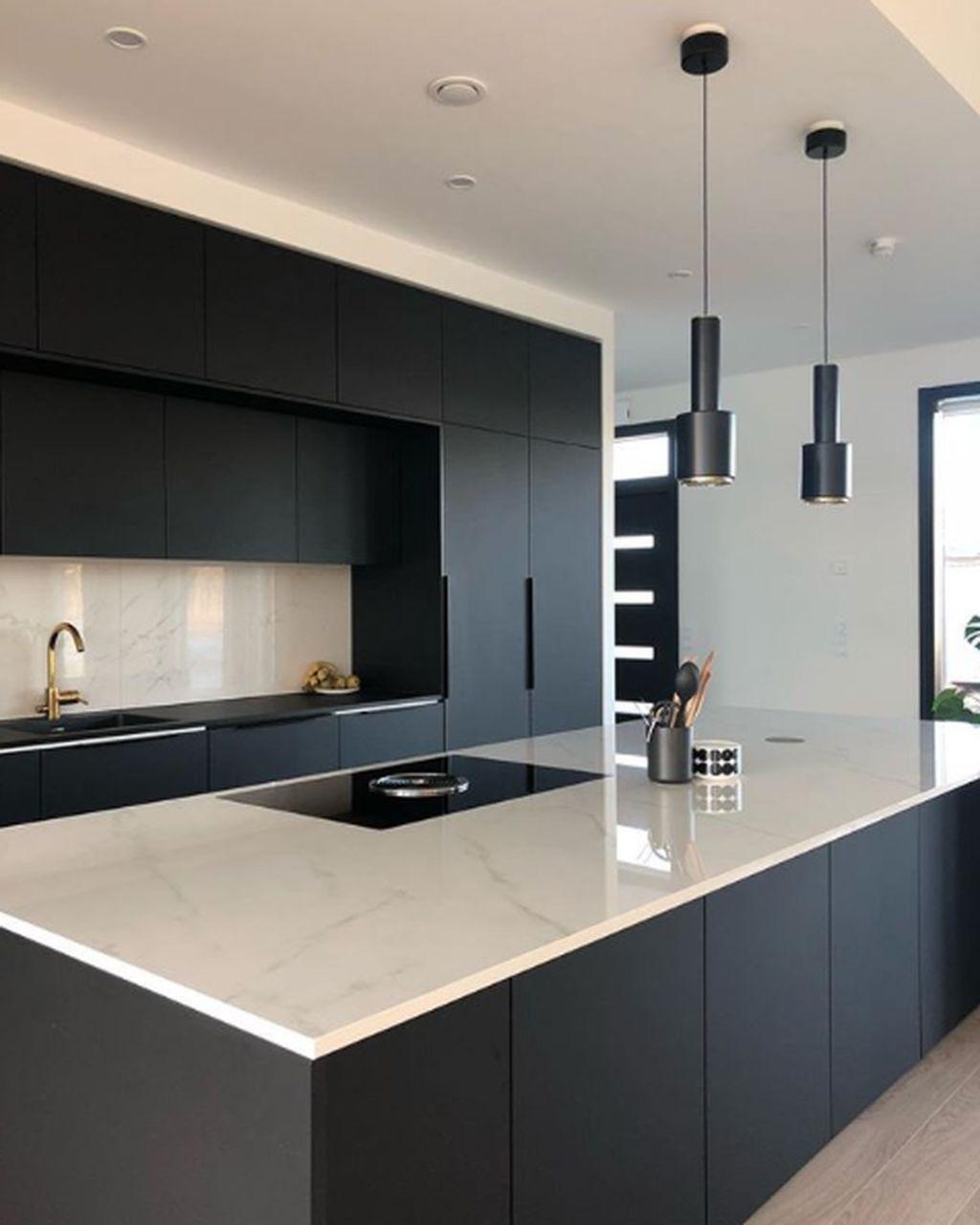50 Black Kitchen Design Ideas With White Color Accent Sweetyhomee Modern Kitchen Design Stylish Kitchen Matte Black Kitchen