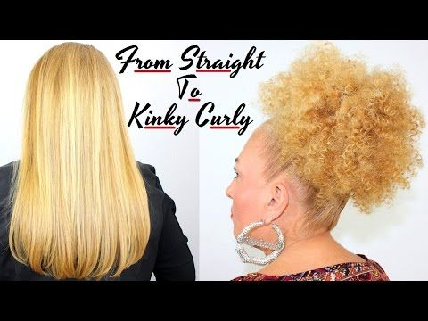 How To Make Straight Hair Beautiful Tight Kinky Curly / Spiral Afro Puff Bun Straw Set Tutorial - YouTube
