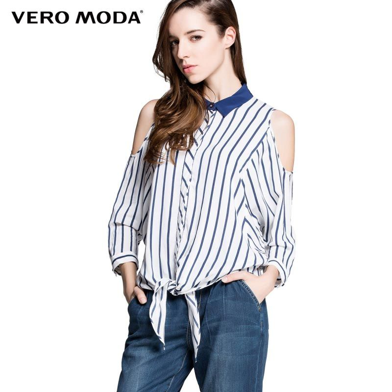 22da3272cd0e9 Vero Moda brand Striped off shoulder turn down collar shirt women s chic  shirts 314231009