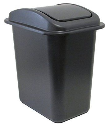 United Solutions WB0234 28-Quart Slim Fit Wastebasket with Swing Top Lid, 7 Gallon, Black