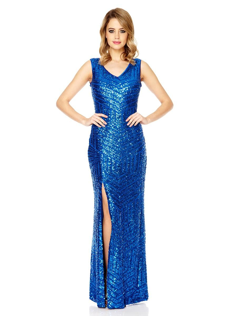 Royal Blue Sequin Zig Zag Split Maxi Dress - Quiz Clothing  69a0ceae7