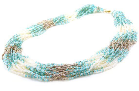 Multi-Strand Necklace Teal Blue Cream White Brown by BeadedSeasons