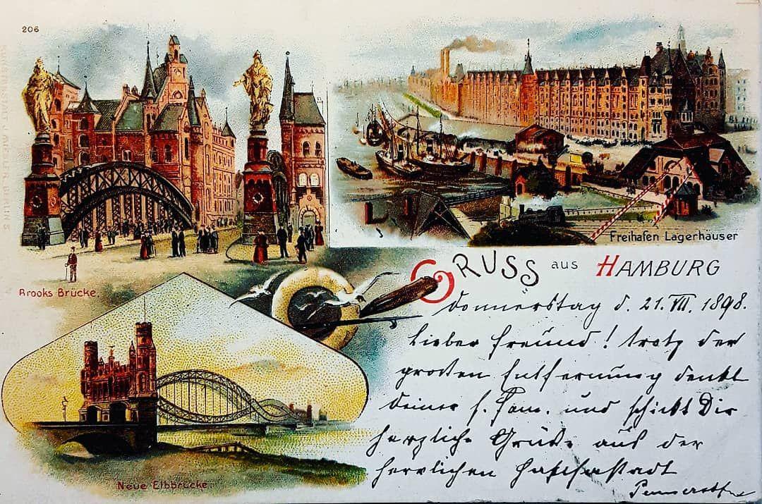 Ansichtskarte Lithographie Gruss Aus Hamburg Gelaufen Am 21 07