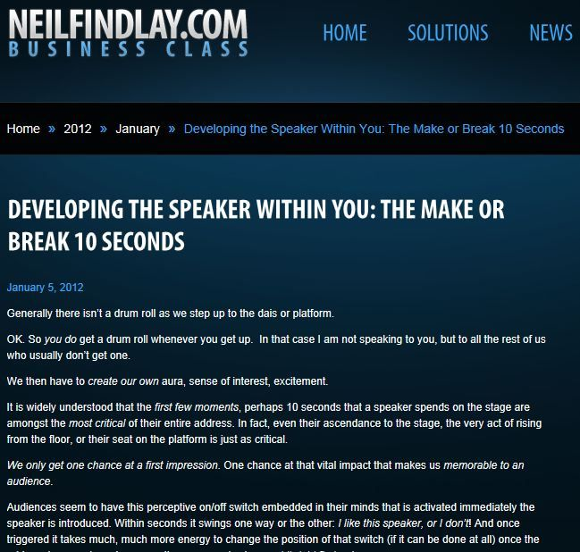 Developing The Speaker Within You: The Make or Break 10 Seconds.  Learn how to manage those critical first few moments on stage...