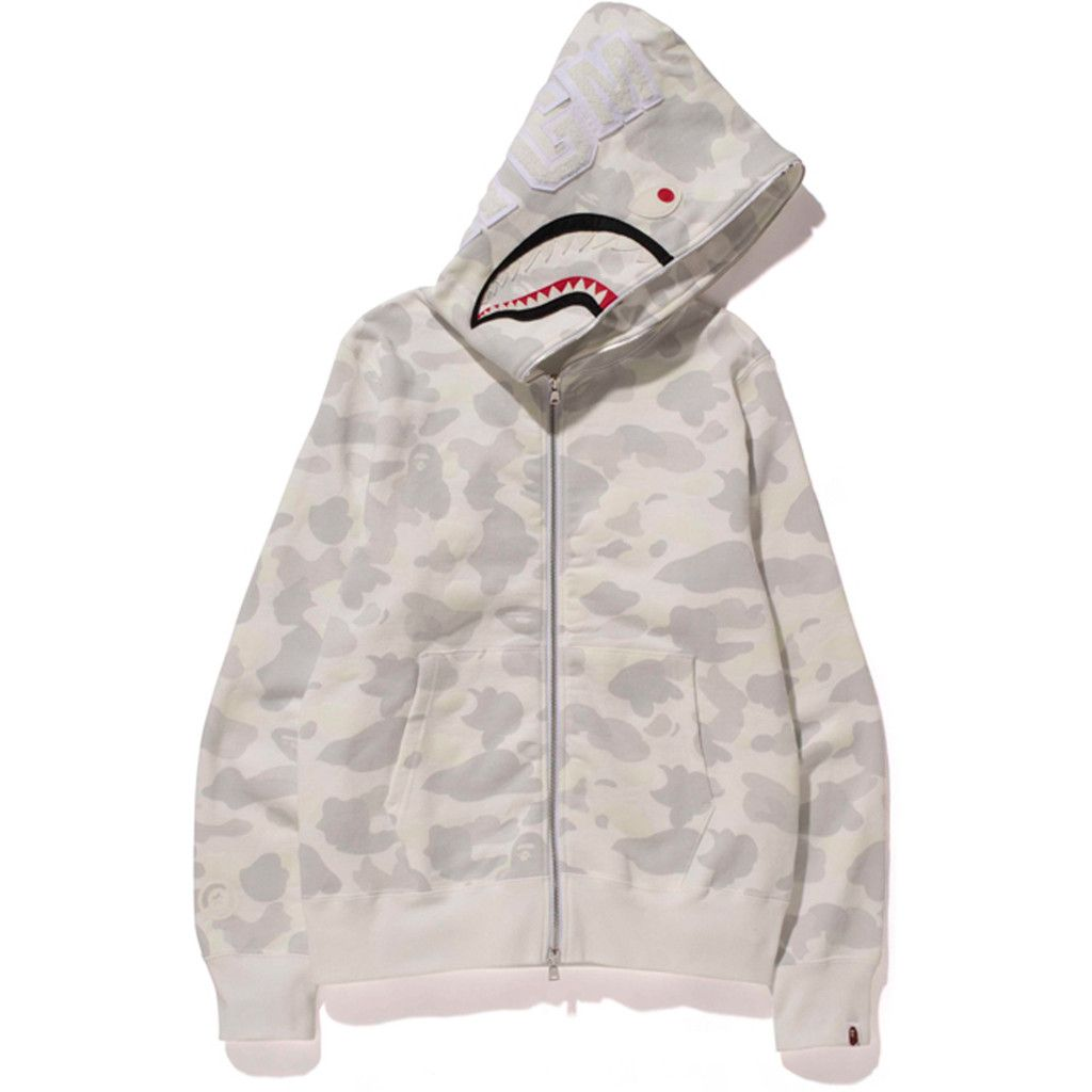 Bape, CITY CAMO SHARK FULL ZIP HOODIE (White) | Streetwear and ...