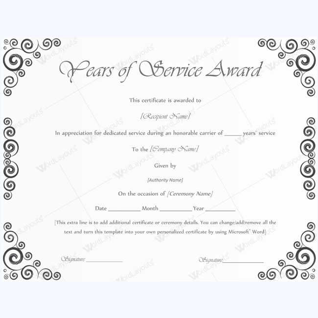 Years Of Service Award 04 Awards Certificates Template Pinterest