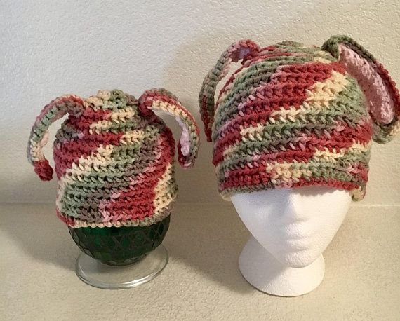 7f1ca3a2745 Easter Bunny Hat Adult Baby Matching Hats Crocheted Yellow Pink Red Green 6-12  months Rabbit READY TO SHIP One-Of-A-Kind Beanie Skull Cap