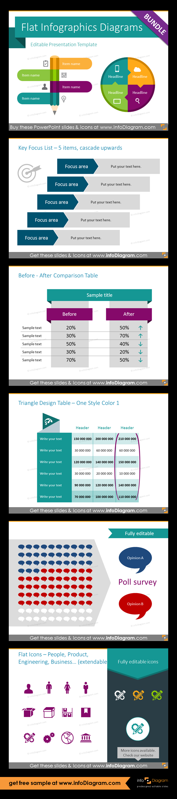 Flat Infographic Templates Design Bundle (PPT diagrams and icons ...