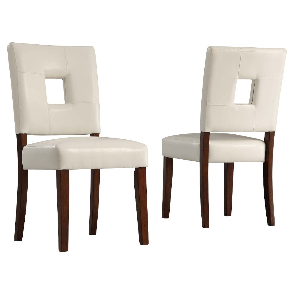 Troy Keyhole Dining Chair Wood/White (Set of 2) - Inspire Q,