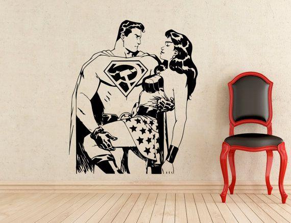 Superman e Wonder Woman adesivi parete vinile Decals Home arte affreschi degli interni decorazione (243z)