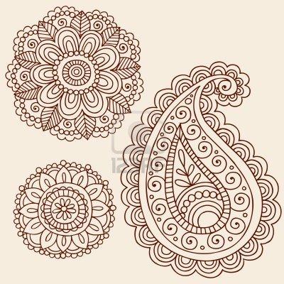 Hand-Drawn Henna Mehndi Tattoo Flowers and Paisley Doodle ...
