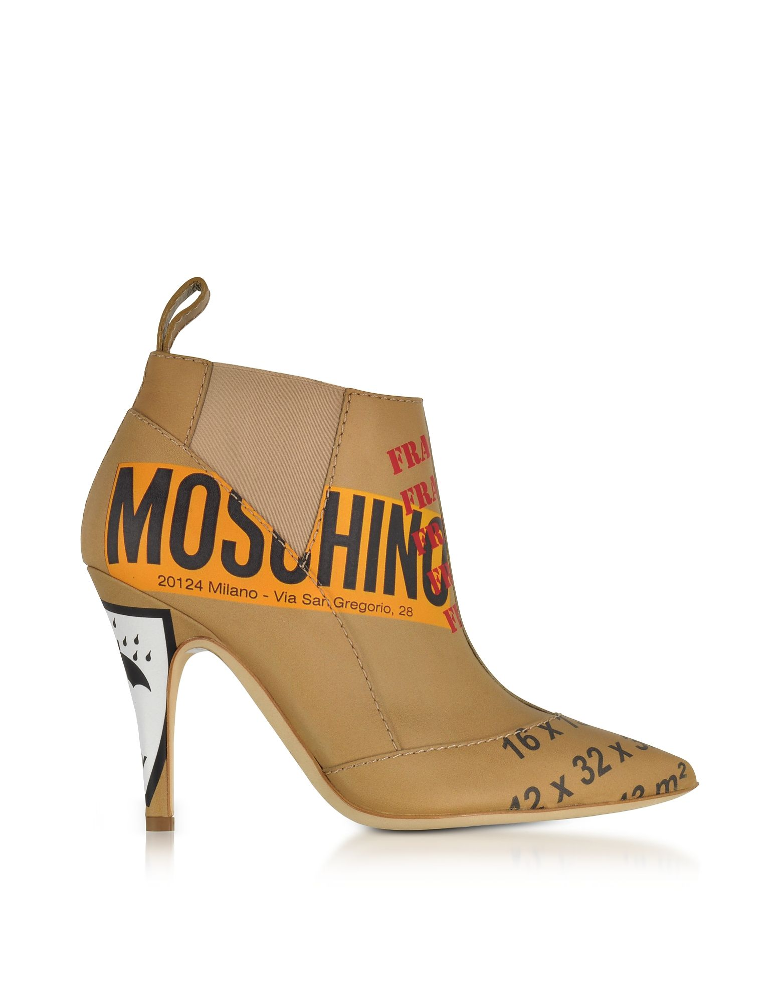 e09e57deb6a MOSCHINO BEIGE LABEL PRINTED LEATHER BOOTIES.  moschino  shoes ...