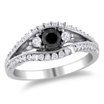3/4 CT. T.W. Enhanced Black and White Diamond Open Shank Ring in 10K White Gold - Zales