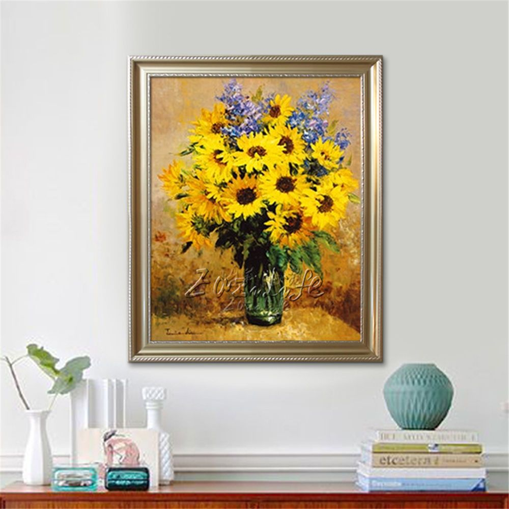 Wall Art Canvas hand painted oil painting Sunflower flowers art home ...
