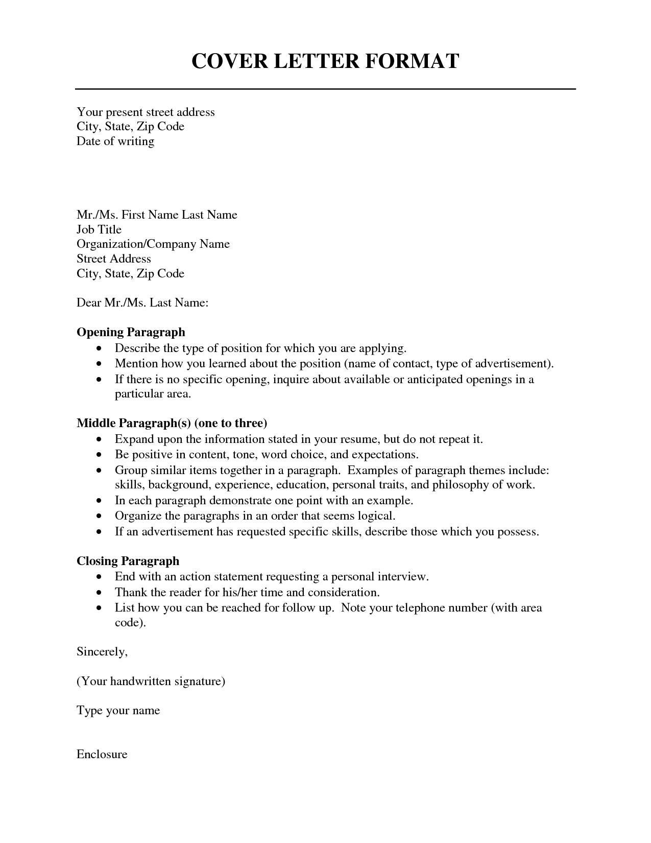 what is the format of a cover letter