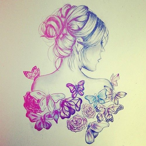 Image Result For Butterfly Girl Drawing Tumblr Teen Tumblr Drawings