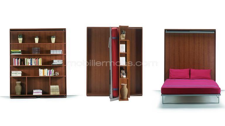 lit escamotable pliable modulable moderne mobilier moss avec table 3 etape murphy beds. Black Bedroom Furniture Sets. Home Design Ideas