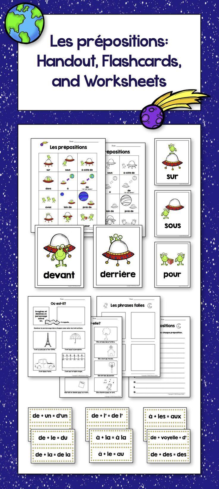 Les Prépositions French Prepositions Large Flash Cards