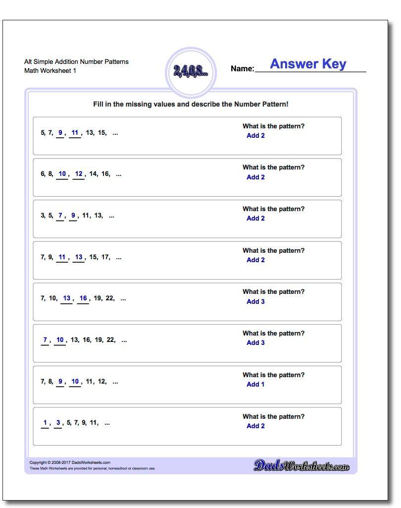 Number Patterns Alt Simple Addition Worksheet Number Patterns Alt