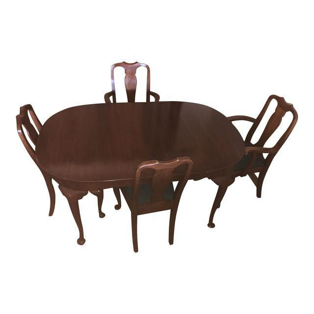 Henkle Harris Solid Wild Black Cherry Queen Anne Table And Four Impressive Queen Anne Dining Room Set Inspiration Design