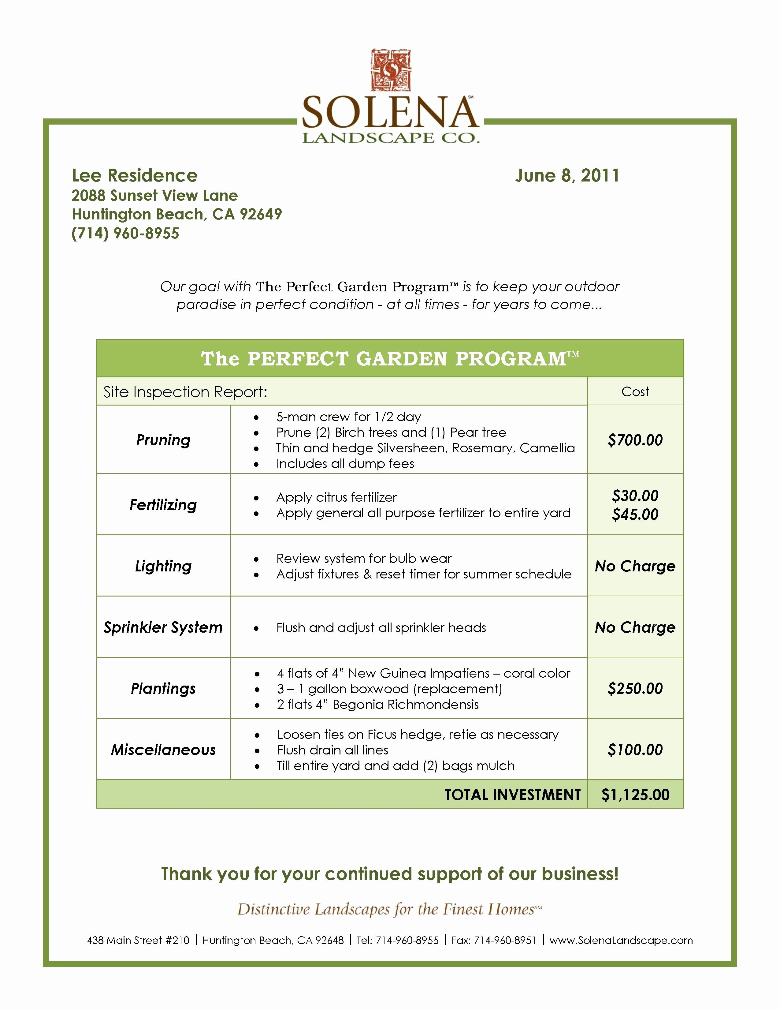 Lawn Maintenance Contract Template Free Lovely Best Landscaping