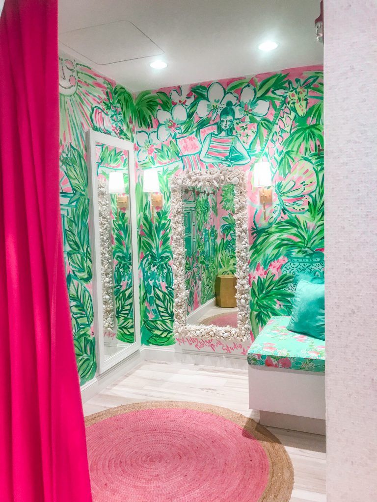 a5d04818be2367 Lilly Pulitzer pink and green preppy fitting room Worth Avenue flagship  Palm Beach Island Florida unique