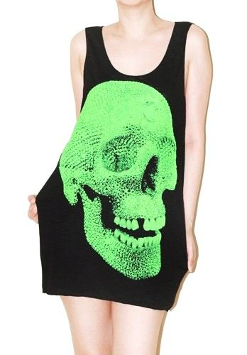 Crystal Skull Black Tank Top Singlet Art Indie Sleeveless Shirt Size M   sumspaceshop - Clothing on ArtFire