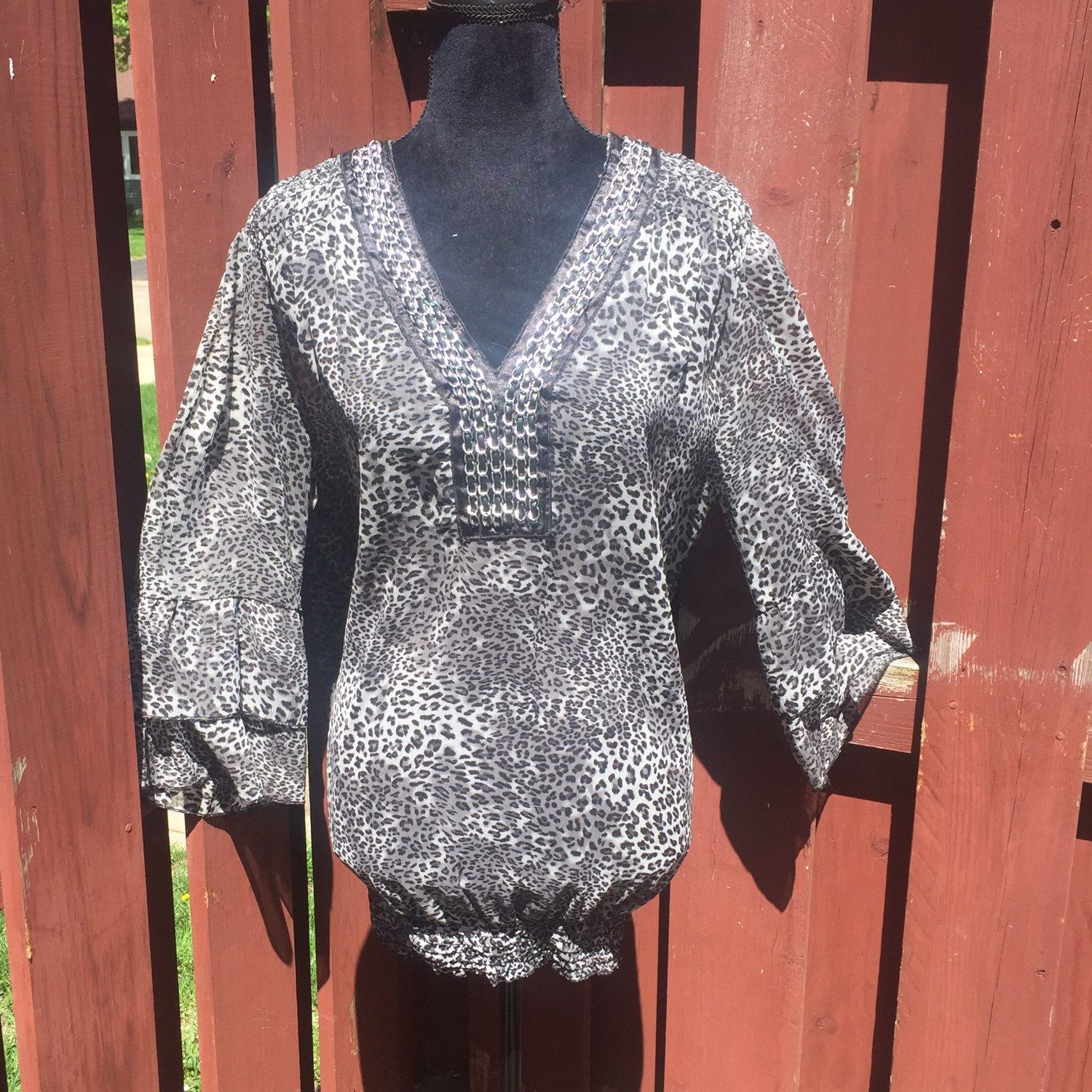 Vintage plus size leopard print top sheer polyester black and leopard print top bankloansurffo Choice Image