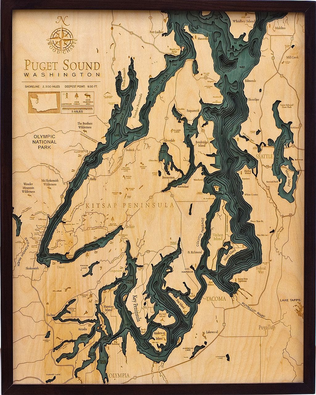 Puget Sound Nautical Topographic Art: Bathymetric Real Wood ...