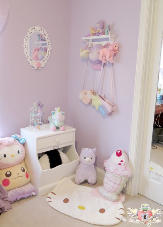 Cute Pastel Bedroom Wit Kawaii Plushies Kawaii Bedroom