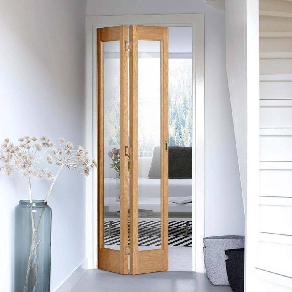 Bifold Marston Oak Door Clear Glass Prefinished Folding Doors Oak Doors Folding Doors Interior