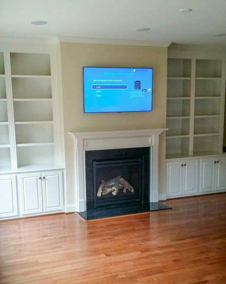 "55"" Samsung LED TV wall mounted above fireplace. Boston ..."