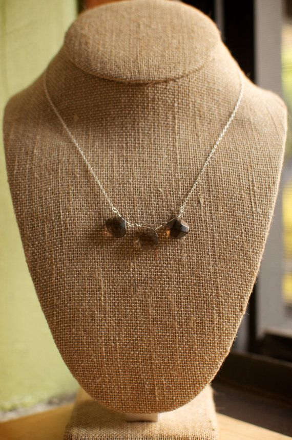 "Sterling Silver Smoky Quartz Faceted Teardrop Chain Necklace 16"", $20.00"