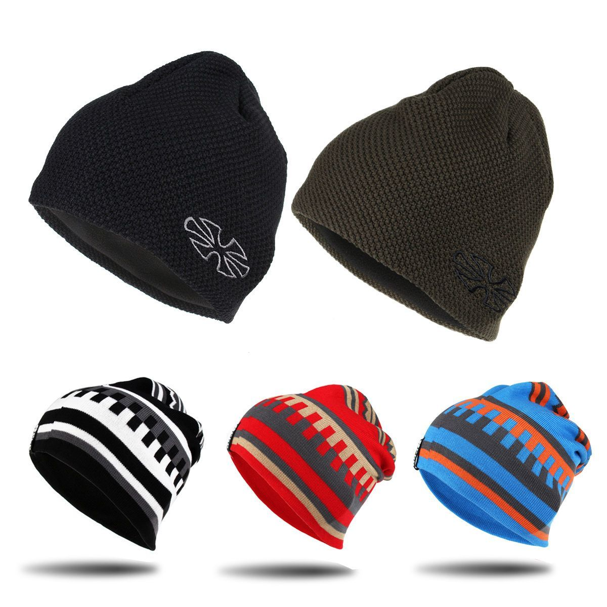 Unisex Knit Baggy Beanie Baggy Winter Hat Ski Crochet Slouchy ...