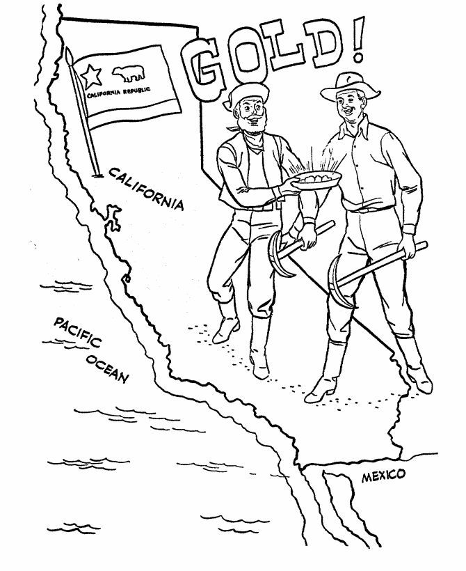 Gold Rush Coloring Pages California Gold Rush California Gold