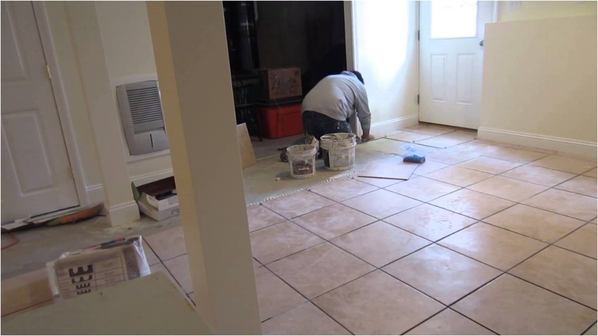Time lapse of a x ceramic tile installation on a basement from