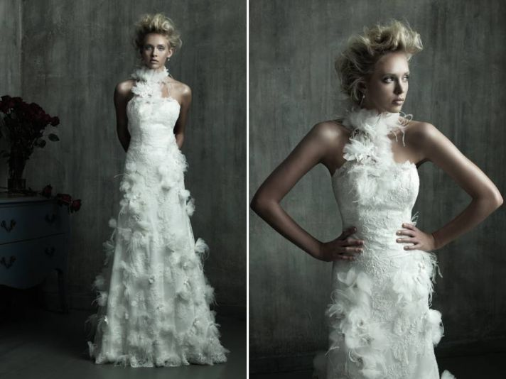 white peacock bridal gown 2011 wedding trends feathers romantic wedding