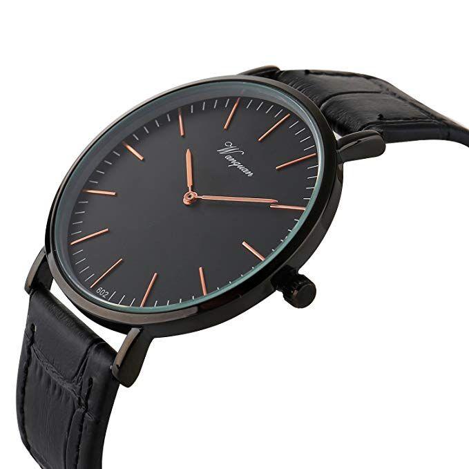 0cc98dfb4384 Cheap Watches Under  25 Takyae Men s Slim Leather Band Casual Analog Quartz  Watch Black