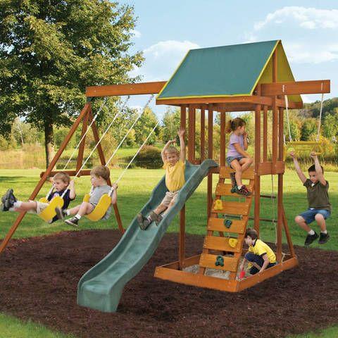 Wooden Swing Set Wooden Swing Set Backyard Playground Backyard Playset