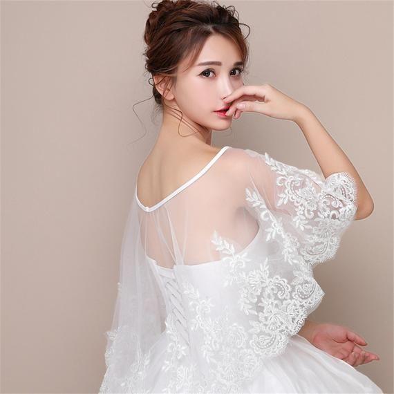 Ivory Tulle Bridal Shrug Lace Appliques Wedding Wrap Spring Wedding Cape Summer Wedding Shrug