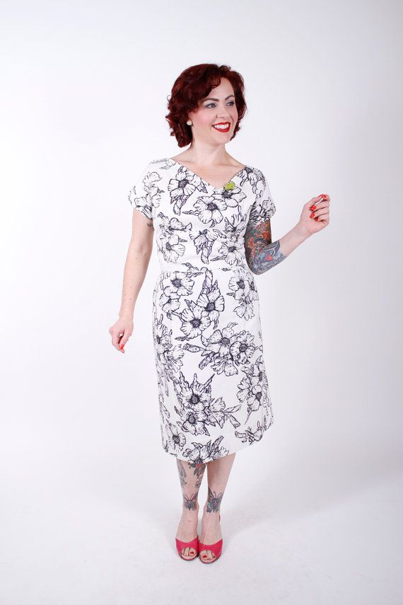 1950s Vintage Dress...Black White Floral 50s by stutterinmama, $78.00
